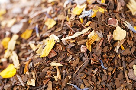 mate infusion: coffee-like, caffeine-infused mate and red rooibos blend, pile over white Stock Photo