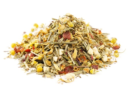 chamomile tea: chamomile mixes with lemongrass and hibiscus herbal tea, over white