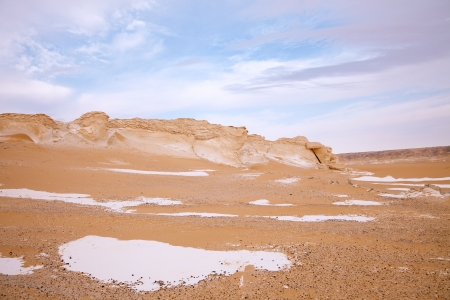 The limestone formation rocks in the White Desert, Egypt photo