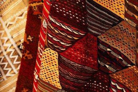 colours tints: Moroccan Carpets in a street shop souk Stock Photo