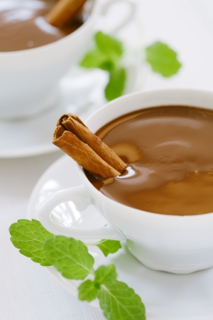 hot chocolate in white cups with cinnamon sticks and mint leaves, sunlight spots, shallow DOF Stock Photo - 16810235