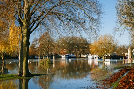 flood in UK, river Thames in Reading photo
