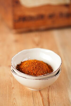 to rub: spices Chicken BBQ Rub mix of Herbs, shallow dof