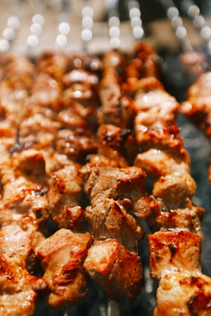 sizzling: Shish kebab with the mix of spices cooking on bbq