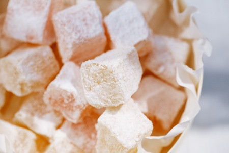 turkish delight: turkish sweet delight, rose and yellow, dusted with caster sugar