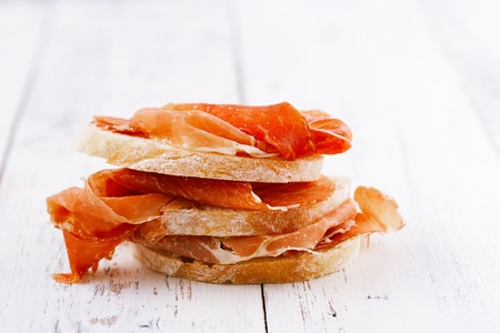 serrano jamon Cured Meat and ciabatta photo