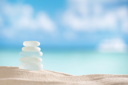 sea glass seaglass with ocean , beach and seascape, shallow dof 写真素材