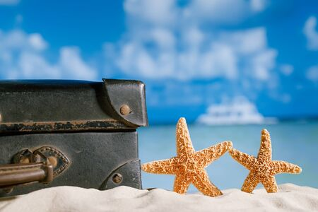 antique suitcase: old retro antique suitcase on beach with starfish, sea and sky backgound