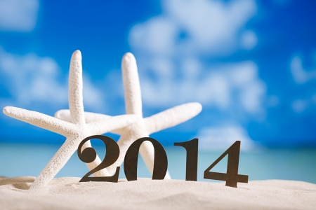 2014 letters with starfish, ocean , beach and seascape, shallow dof Stock Photo - 22907202