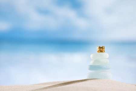 sea glass seaglass with crown, ocean , beach and seascape photo