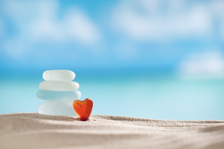 sea glass seaglass with ocean , beach and seascape, shallow dof Stockfoto