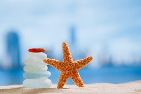 sea glass and starfish  with ocean , beach and cityscape, shallow dof photo