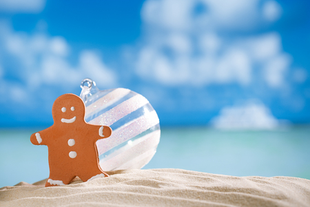 gingerbread man and glass balll on beach with seascape background photo
