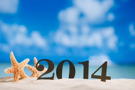 2014 letters with starfish, ocean , beach and seascape, shallow dof