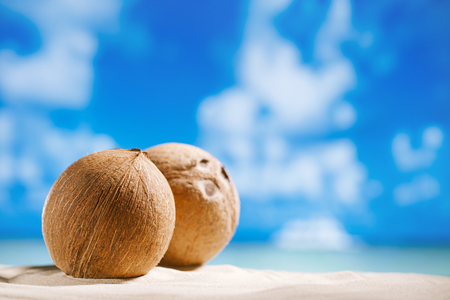 coconuts with ocean , beach and seascape, shallow dof photo