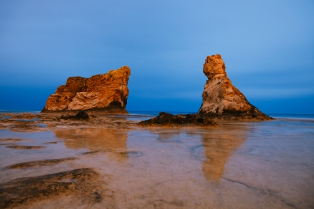 marsa: Cleopatras beach famous rocks near  Marsa Matruh, egypt,night exposure