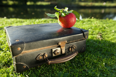 travelled: old black suitcase by the river with red apple … shallow dof Stock Photo