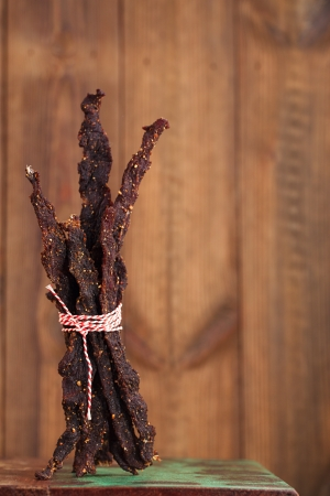 cured: jerky beef - homemade dry cured spiced meat