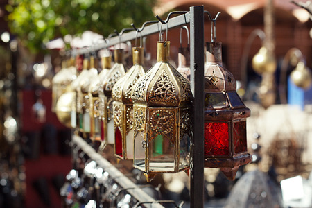 africa antique: Moroccan glass and metal lanterns lamps in Marrakesh souq Stock Photo