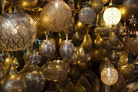 souk: Moroccan glass and metal lanterns lamps in Marrakesh souq Stock Photo
