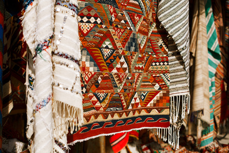 souk: Moroccan Carpets in a street shop souk Stock Photo