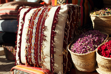 colours tints: Moroccan cushions in a street shop in medina souk