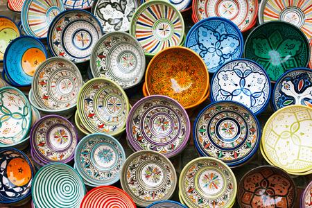 african art: moroccan souk crafts souvenirs in medina, Essaouira, Morocco