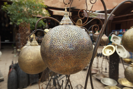 souq: Moroccan glass and metal lanterns lamps in Marrakesh souq Stock Photo