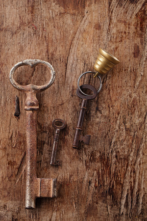 large and small rusty vintage metal keys  photo