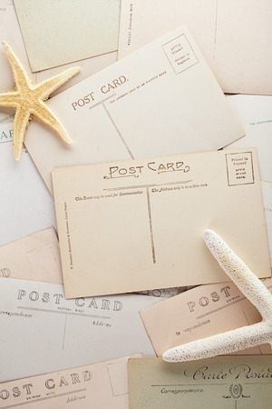 post cards: vintage post cards backdrop, retro colors Stock Photo