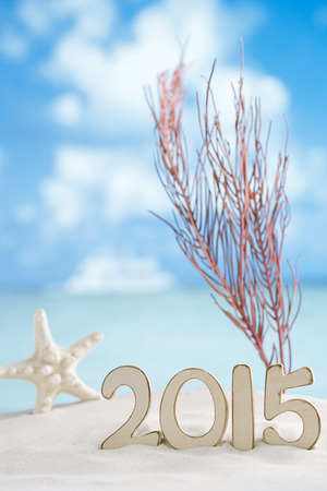 2015 letters with starfish, ocean ,white sand beach and seascape photo