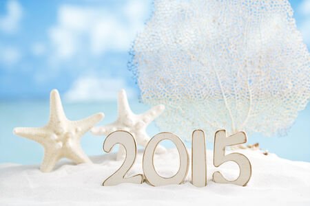 2015 letters with starfish, ocean ,white sand beach and seascape