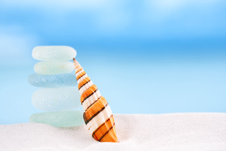 bright stripped sea shell with sea glass ocean , beach and seascape, shallow dof photo