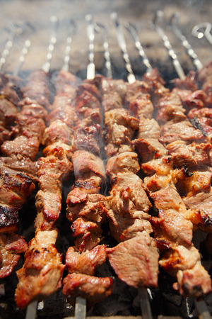 shish kebab: Shish kebab with the mix of spices cooking on bbq