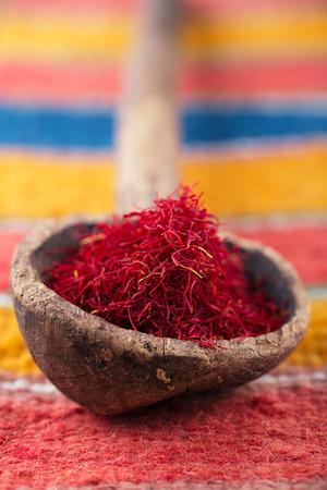 saffron spice in morocco souk, closeup, shallow dof photo