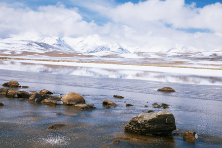 Barskoon valley in Kyrgyzstan, high Tyan Shan mountains photo
