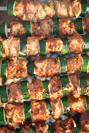 chargrill: Shish kebab with vegs and mix of spices on bbq Stock Photo