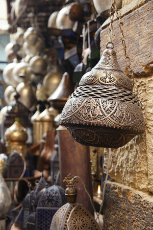 souk: lamps, crafts, souvenirs  in street shop in cairo, egypt