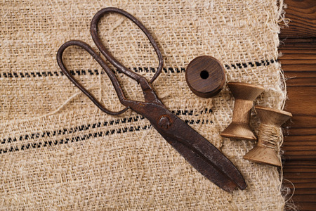 antique scissors: really antique iron scissors with spools on old grain sacking linen Completely hand made  handwoven and homespun