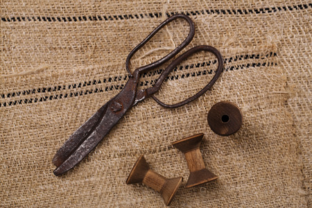 completely: really antique iron scissors with spools on old grain sacking linen Completely hand made  handwoven and homespun