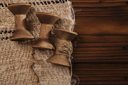 old spools: real old reels spools with hemp treads on old grain sacking linen Completely hand made  handwoven and homespun