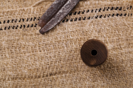 homespun: real old reel spool with  scissors on old grain sacking linen Completely hand made  handwoven and homespun