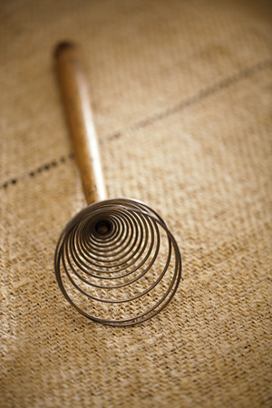 completely: real vintage wooden wire whisk  on old grain sacking linen Completely hand made  handwoven and homespun