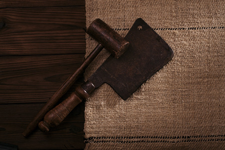 homespun: real vintage wooden mallet and iron meat cleaver on old grain sacking linen Completely hand made  handwoven and homespun