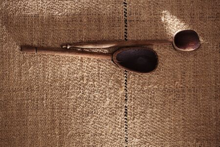 completely: real vintage wooden spoons on old grain sacking linen Completely hand made  handwoven and homespun