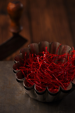 Homemade handmade red hot Chili Threads strings,  cutted and Dried photo