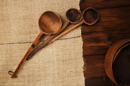 homespun: real vintage wooden spoons on old grain sacking linen Completely hand made  handwoven and homespun