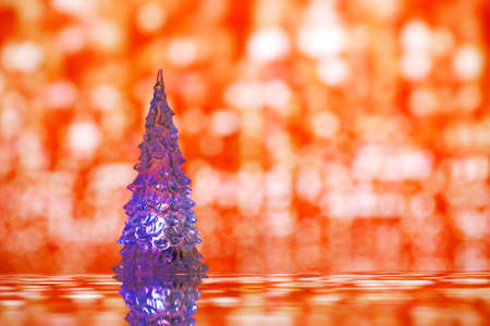 shinny: Shinny Glass Christmas Tree, abstract glettre red background