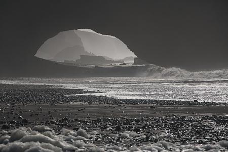 arcos de piedra: Legzira arcos de piedra natural espectacular que llegan sobre el mar, Océano Atlántico, Marruecos, África