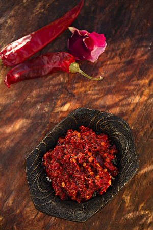 Traditional home-made  rose harissa - morrocan red hot chilles paste Stock Photo